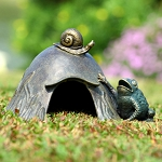 Toad House With Snail Garden Sculpture