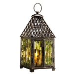 Blue Mosaic Glass Lantern
