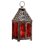 Red Mosaic Glass Lantern
