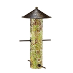 Amber Mosaic Glass Bird Feeder