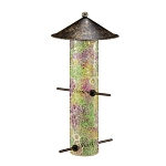 Pink Mosaic Glass Bird Feeder