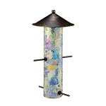 Blue Mosaic Glass Bird Feeder