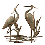 Double Heron Garden Wall Plaque