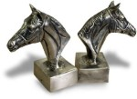 Nickel Horsehead Bookends - Set Of Two