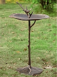 Bird On Branch Sundial Birdbath
