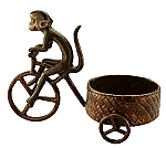Bicycle Monkey 5 Inch Pillar Candle Holder