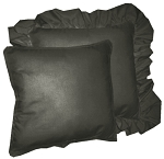 Black Solid Colored Ruffled or Corded Pillows Set of 2