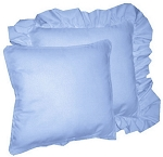 Blue Solid Colored Ruffled or Corded Pillows Set of 2