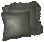 Charcoal Gray Solid Colored Ruffled or Corded Pillows Set of 2