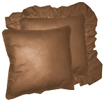 Copper Solid Colored Ruffled or Corded Pillows Set of 2