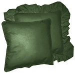Dark Forest Green Solid Colored Ruffled or Corded Pillows Set of 2