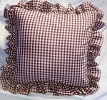 Burgundy Gingham Ruffled or Corded Throw Pillows Stuffed Set of 2