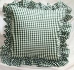 Hunter Green Gingham Ruffled or Corded Throw Pillows Stuffed Set of 2