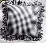 Navy Blue Gingham Ruffled or Corded Throw Pillows Stuffed Set of 2