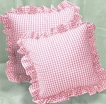 Pink Gingham Ruffled or Corded Throw Pillows Stuffed Set of 2