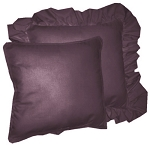 Eggplant Purple Solid Colored Ruffled or Corded Pillows Set of 2