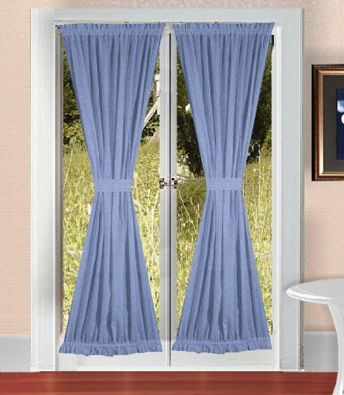 Blue French Door Curtains