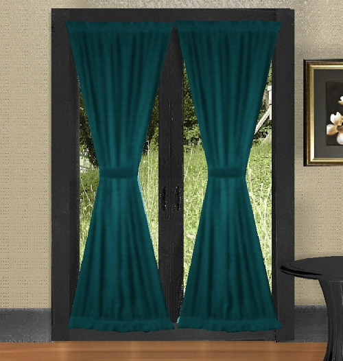 Dark Teal French Door Curtains