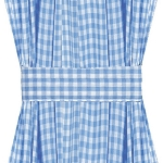 Blue Gingham Check French Door Curtains