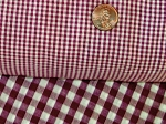 Burgundy Wine Mini Gingham Check French Door Curtains