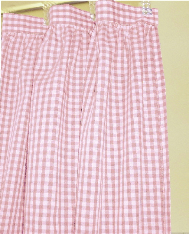 Gingham Check Shower Curtains Light Pink
