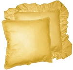 Gold Solid Colored Ruffled or Corded Pillows Set of 2