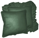 Hunter Green Solid Colored Ruffled or Corded Pillows Set of 2