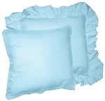 Light Blue Solid Colored Ruffled or Corded Pillows Set of 2