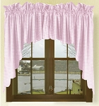 Light Pink Gingham Check Scalloped Window Swag Valance Set