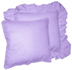 Light Purple Solid Colored Ruffled or Corded Pillows Set of 2