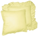 Light Yellow Solid Colored Ruffled or Corded Pillows Set of 2