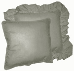 Medium Gray Solid Colored Ruffled or Corded Pillows Set of 2