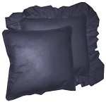Navy Blue Solid Colored Ruffled or Corded Pillows Set of 2