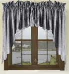 Navy Blue Gingham Check Scalloped Window Swag Valance Set