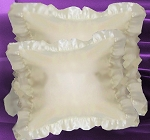 Ivory Satin Throw Pillows Ruffled and Stuffed Set of 2
