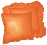 Orange Solid Colored Ruffled or Corded Pillows Set of 2