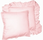 Pink Solid Colored Ruffled or Corded Pillows Set of 2