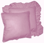 Powder Plum Purple Solid Colored Ruffled or Corded Pillows Set of 2