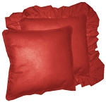 Red Solid Colored Ruffled or Corded Pillows Set of 2