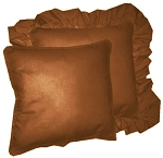Rust Solid Colored Ruffled or Corded Pillows Set of 2