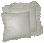 Light Gray Solid Colored Ruffled or Corded Pillows Set of 2