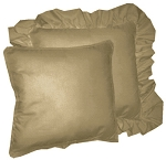 Taupe Solid Colored Ruffled or Corded Pillows Set of 2