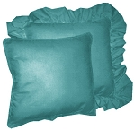 Teal Solid Colored Ruffled or Corded Pillows Set of 2