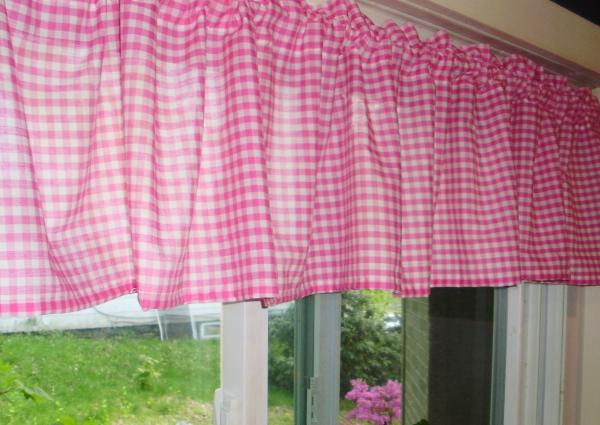 Hot Pink Gingham Window Valances