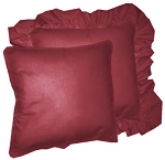 Dark Wine Solid Colored Ruffled or Corded Pillows Set of 2