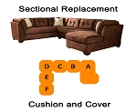 Ashley® Delta City Chocolate Sectional replacement cushion and cover, 19702