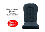 Quick Ship! Glider Rocker Cushion Set - Indigo Blue Fabric