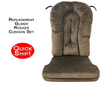 Quick Ship! Glider Rocker Cushion Set - Chocolate Micro Denier