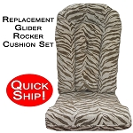 Quick Ship! Glider Rocker Cushion Set Brown Zebra Fabric