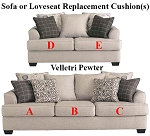 Ashley® Velletri Pewter replacement cushion cover, 7960438 sofa or 7960435 love